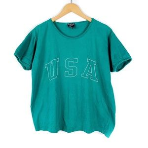Vintage USA Teal Green Tee Shirt Top Women's XL